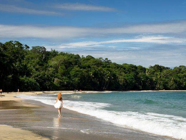 Caribbean beach, woman strolling, Punta Uva, Puerto Viejo, Costa Rica, Central