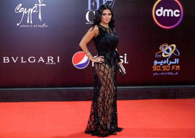 Egyptian actress Rania Youssef poses on the red carpet at the closing ceremony of the 40th edition of...
