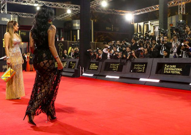 Egyptian actress Rania Youssef walks on the red carpet at the closing ceremony of the 40th edition of...