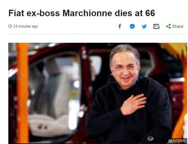 La notizia della morte di Marchionne sui giornali
