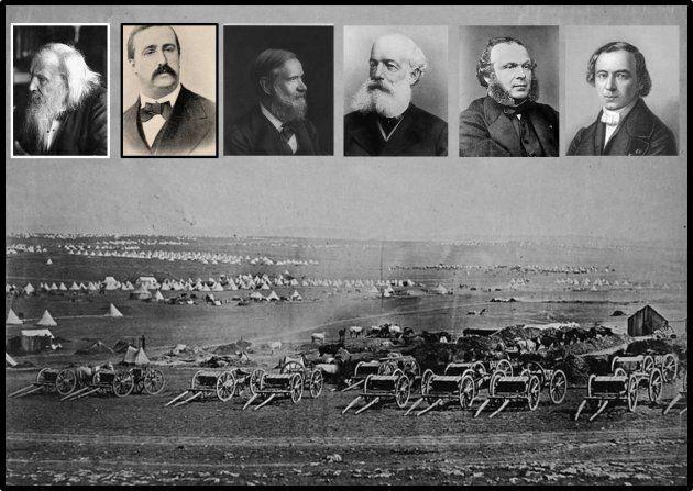 Sullo sfondo una rara foto della guerra di Crimea. In alto da sinistra a destra ci sono i ritratti di...