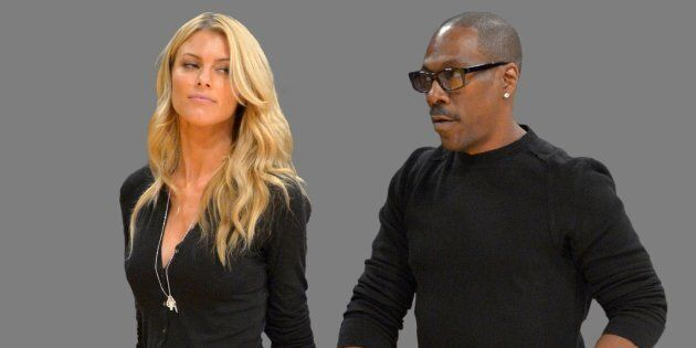 Eddie Murphy and Paige Butcher (r-l), graphic element on