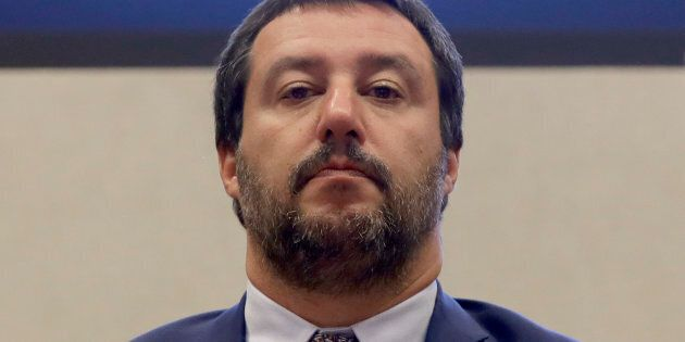 Interior Minister Matteo Salvini answers reporters' questions during a press conference at the Interior...