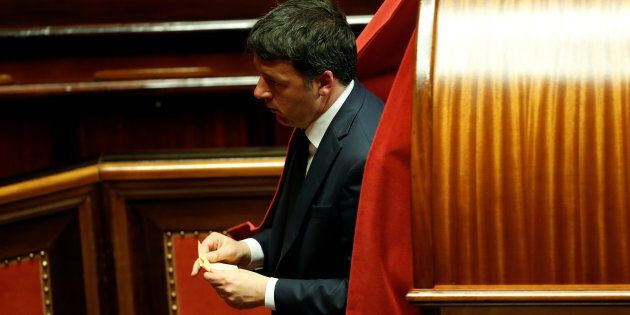 Former Prime Minister and senator Matteo Renzi casts his vote at the Senate during the second session...