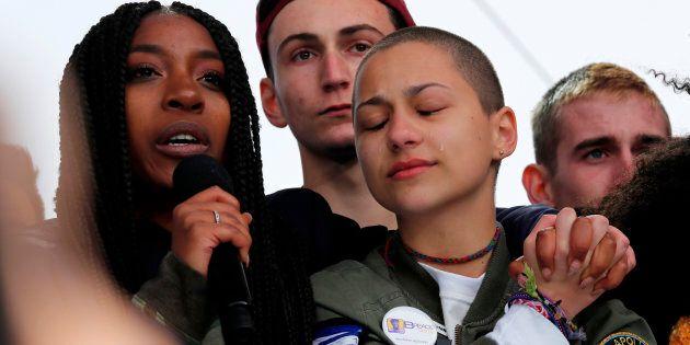 Shooting survivors Tyra Hemans (L) and Emma Gonzalez (R), from Marjory Stoneman Douglas High School in...