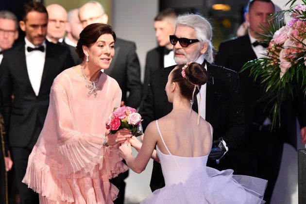 MONTE-CARLO, MONACO - MARCH 24: Princess Caroline of Hanover and Karl Lagerfeld attend the Rose Ball...