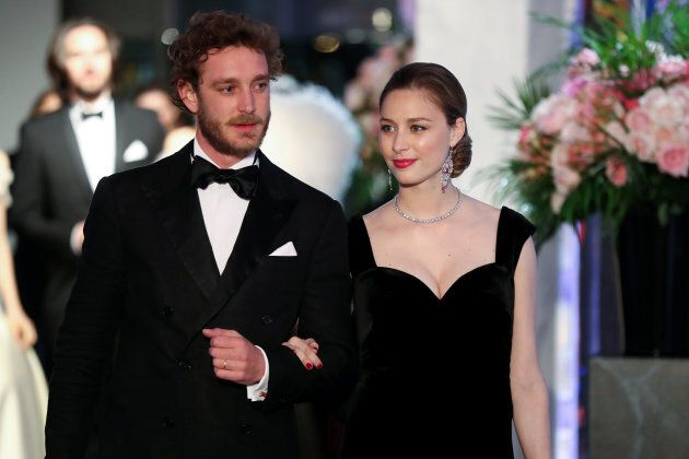 Pierre Casiraghi (R) and his wife Beatrice Casiraghi arrive for the annual Rose Ball at the Monte-Carlo...