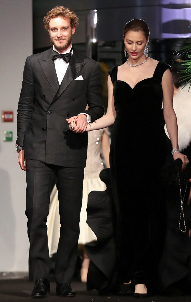 Pierre Casiraghi (L) and his wife Beatrice Casiraghi arrive for the annual Rose Ball at the Monte-Carlo...