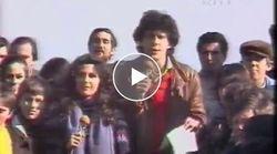 Capellone, giacca di pelle e uno sguardo tenero verso i ragazzi: l'esordio di Frizzi nel