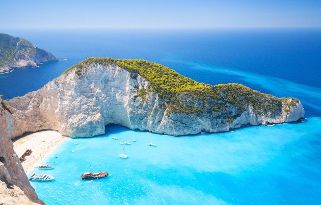 Navagio bay and Ship Wreck beach in summer. The most famous natural landmark of Zakynthos, Greek island...
