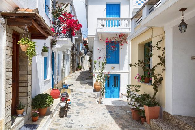 Tiny colorful Greek streets with