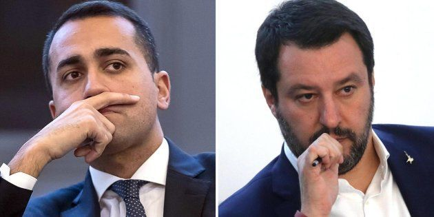 La combo, realizzata con due immagini di archivio, mostra Matteo Salvini e Luigi Di Maio