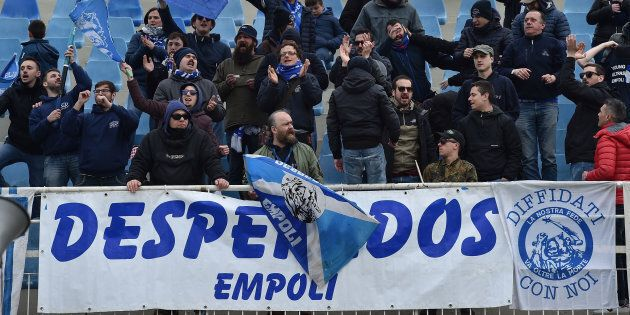 PESCARA, ITALY - MARCH 25: Fans of Empoli FC celebrate the victory after the serie B match between Pescara...