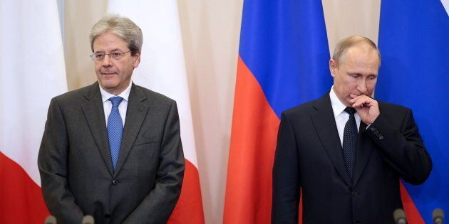 SOCHI, RUSSIA MAY 17, 2017: Italys Prime Minister Paolo Gentiloni (L) and Russias President Vladimir...