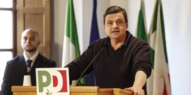 Il ministro Carlo Calenda durante il seminario ''Adesso ricostruire. Il Pd e la sinistra'', Roma, 17...