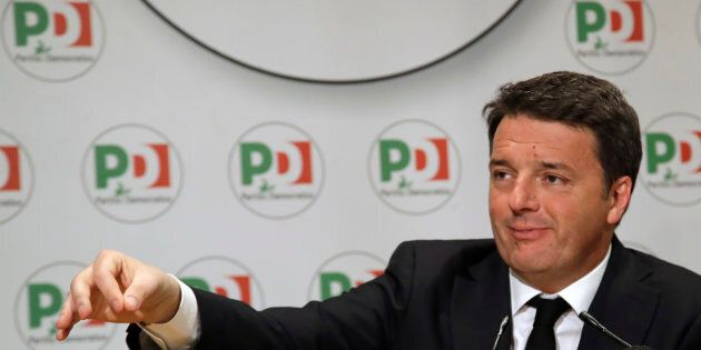Democratic Party leader Matteo Renzi holds a press conference on the election results, in Rome, Monday,...