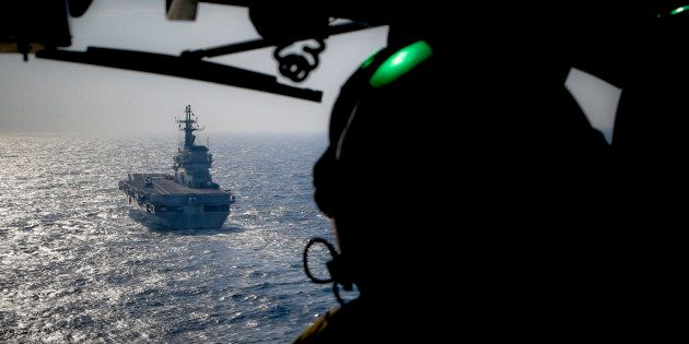 In this Friday, Nov. 25, 2016 photo, the Italian Navy Giuseppe Garibaldi light aircraft carrier, seen...