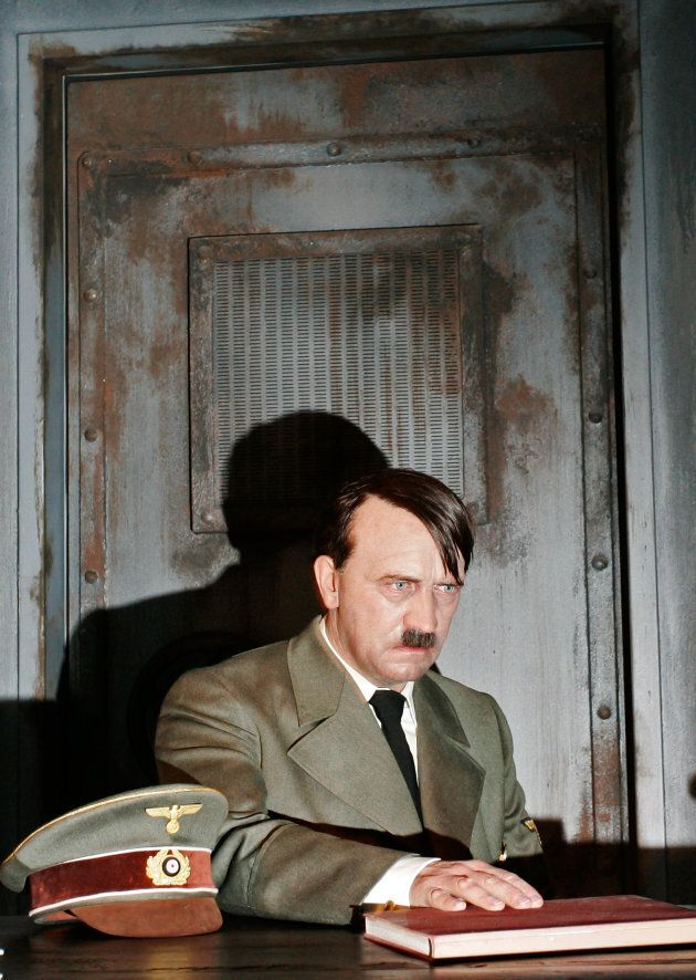BERLIN - JULY 03: A wax model of Adolf Hitler during the final days in the Fuehrer-Bunker is displayed...
