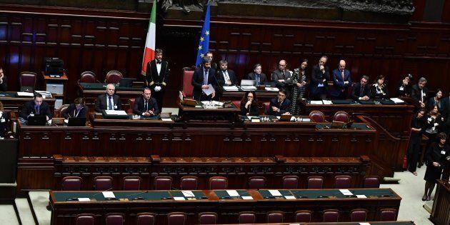 Il neo presidente della Camera Roberto Fico del M5s nell'aula della Camera durante il suo primo intervento...