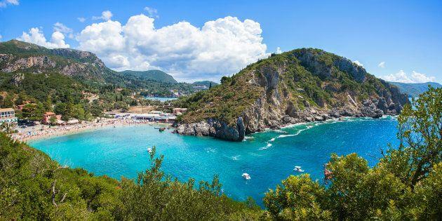 Beautiful Paleokastritsa beach on Corfu, Kerkyra, Greece.
