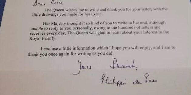 Maria Teresa, 9 anni, scrive alla Regina Elisabetta. Sua Maestà