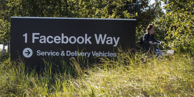 Signage is displayed outside Facebook Inc. headquarters in Menlo Park, California, U.S., on Tuesday,...