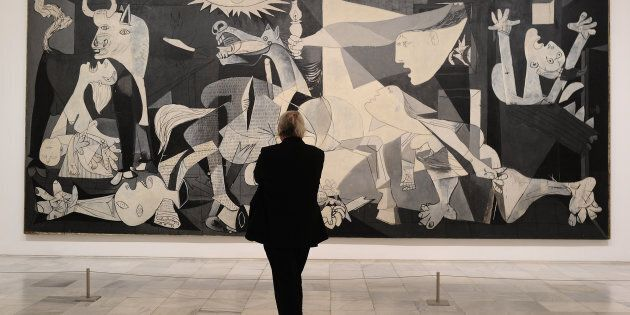 MADRID, SPAIN - APRIL 03: View of Pablo Picasso's Guernica painting during the presentation to members...