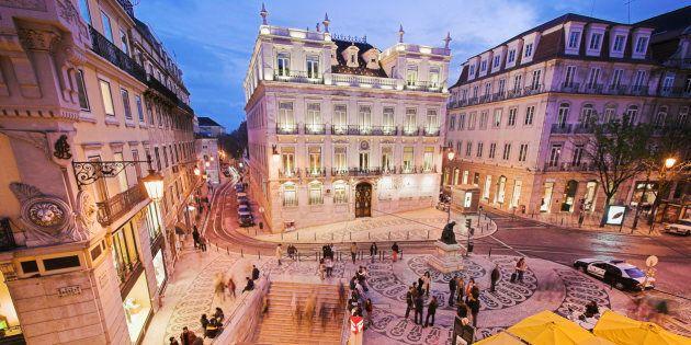 Europe, Portugal, Lisbon, Rua Garrett at night, elevated