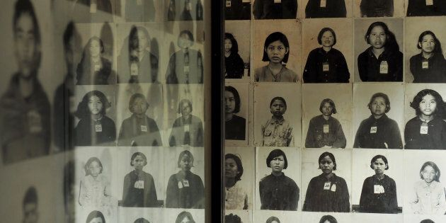 TUOL SLENG GENOCIDE MUSEUM, PHNOM PENH, CAMBODIA - 2017/04/16: Portrait photographs of prisoners are...