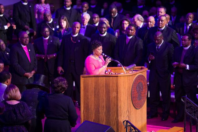 MEMPHIS, TN - APRIL 03: Bernice King the daughter of Martin Luther King, Jr., speaks during the I AM...