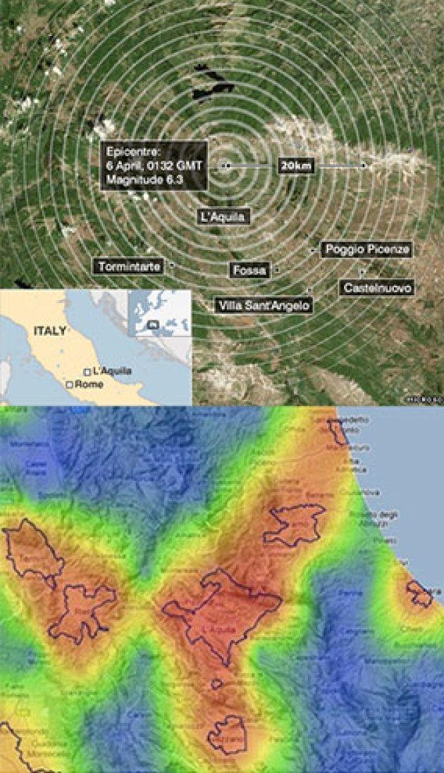 Nella figura sono riportate la mappa delle aree dell'Italia centrale interessate al terremoto dell'Aquila...