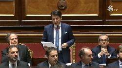 Conte in Senato tra Tria e Moavero per l'informativa sul negoziato con l'Europa. I vice premier si