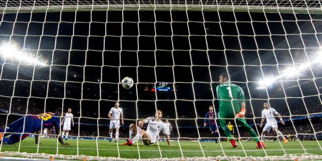 Roma's goalkeeper Alisson Becker during the UEFA Champions League match between FC Barcelona and AS Roma...