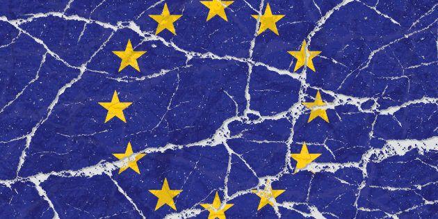 Cracked broken grunge textured flag of European