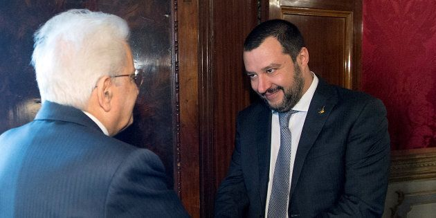Italian President Sergio Mattarella welcomes League party leader Matteo Salvini at the Quirinale palace...
