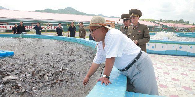 Kim Jong-un sorridente in un allevamento di pesci