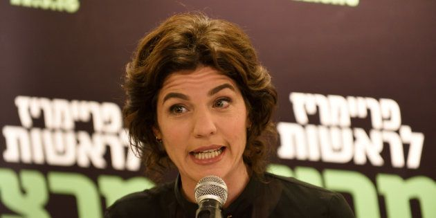 MK Tamar Zandberg, the new elected leader of Meretz Party, speaks to supporters after being elected as...