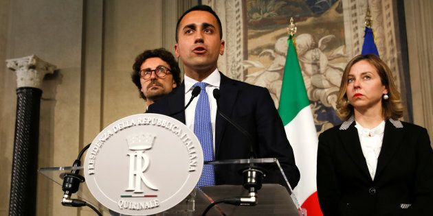 Anti-establishment 5-Star Movement leader Luigi Di Maio speaks to the media during the second day of...