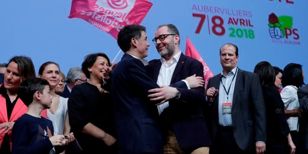 Newly-elected General Secretary of the French Socialist Party (PS) Olivier Faure (2-L) speaks to National...