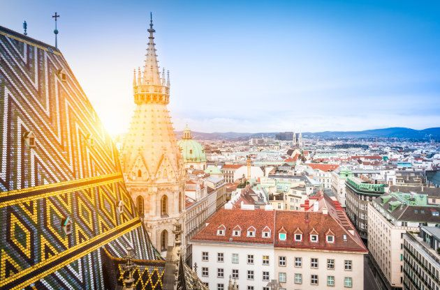 Aerial view over the rooftops of Vienna from the north tower of St. Stephen's Cathedral including the...