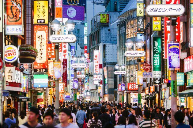 People walking in Shibuya shopping