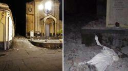 A Pennisi è crollata la statua di Sant'Emidio, protettore dei
