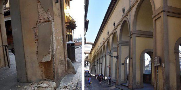 Danneggiata colonna corridoio
