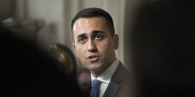 Luigi Di Maio, leader of the Five Star Movement, speaks during a news conference following a meeting...