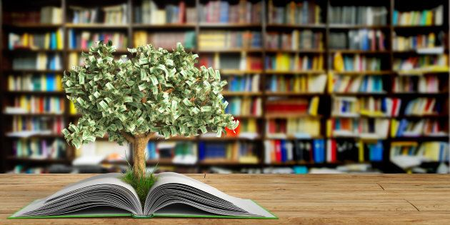 tree growing from book A big open book 3d render Success knowlage