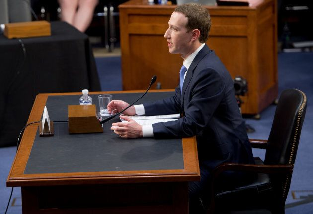Facebook founder and CEO Mark Zuckerberg testifies during a Senate Commerce, Science and Transportation...