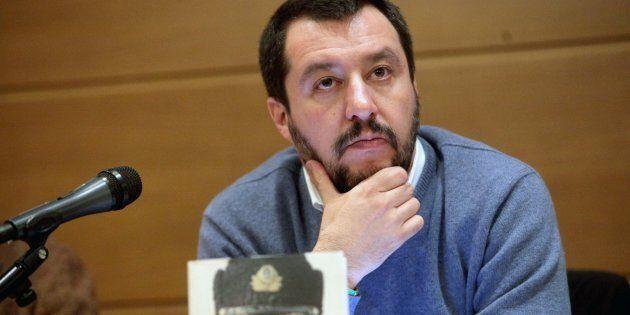 Il segretario della Lega Nord, Matteo Salvini, alla presentazione del libro di Gennaro