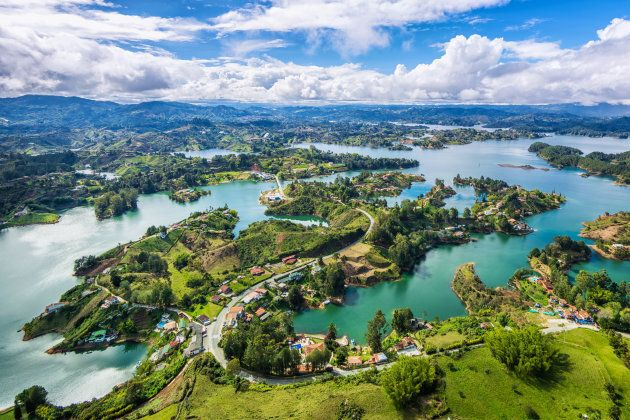 Panoramic view of Guatape from the Rock (La Piedra del Penol), near Medellin,