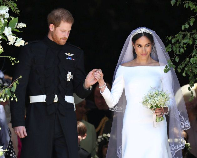 Meghan Markle and Prince Harry leave St George's Chapel at Windsor Castle following their wedding in...