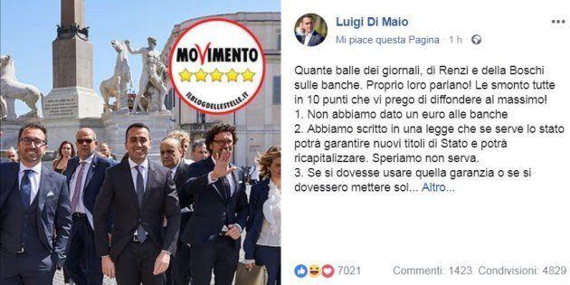 Banca Carige, commenti contro il post di Luigi Di Maio: